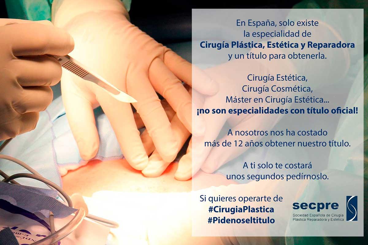 Llamamiento de los cirujanos plásticos a la ciudadanía: #Pidenoseltitulo